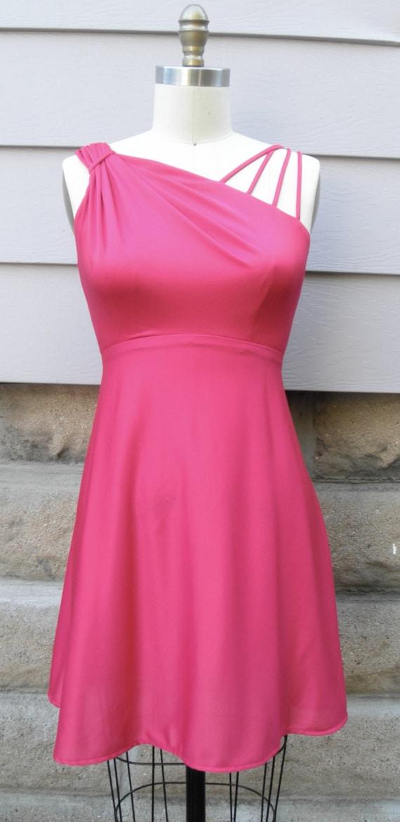 "1980s ""Anastasia"" Hot Pink Strappy Dress"