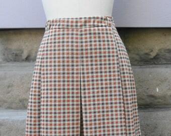 """1960s """"Velma"""" Brown and Orange Pleated Plaid Skirt"""