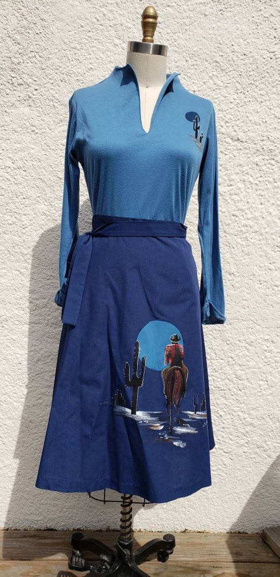 """1970s """"Blythe"""" Blue Western Wrap Skirt and Knit To"""