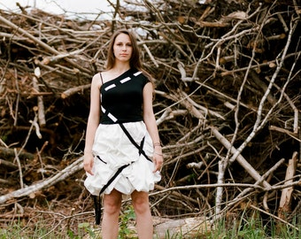 """Parachute skirt """"Veronica"""" white cotton with black ribbons"""