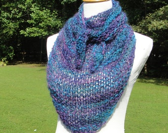 Gorgeous Hand Knit Scarf in  Vibrant Shades of Turquoise, Navy and Purple