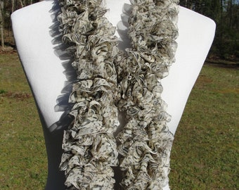 Fancy Hand Knit Ruffled Scarf with a Beige and Brown Animal Print Design