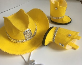 "18"" Ag Doll Western Hat and Boot Set -Yellow"