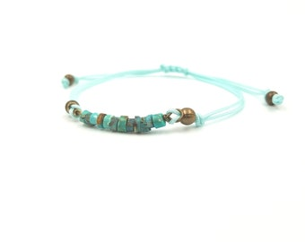Men bracelet - adjustable cord - Turquoise of Africa - gift for him