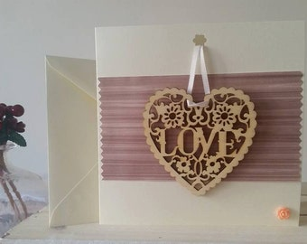 Personalised Anniversary Card & Gift for Wife, Girlfriend, Fiancee, Husband, Boyfriend : Handmade Card with Wooden Love Plaque