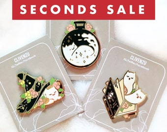 SECONDS SALE - Witchy Ghost Cat (Black) - Glow in the Dark Enamel Pin