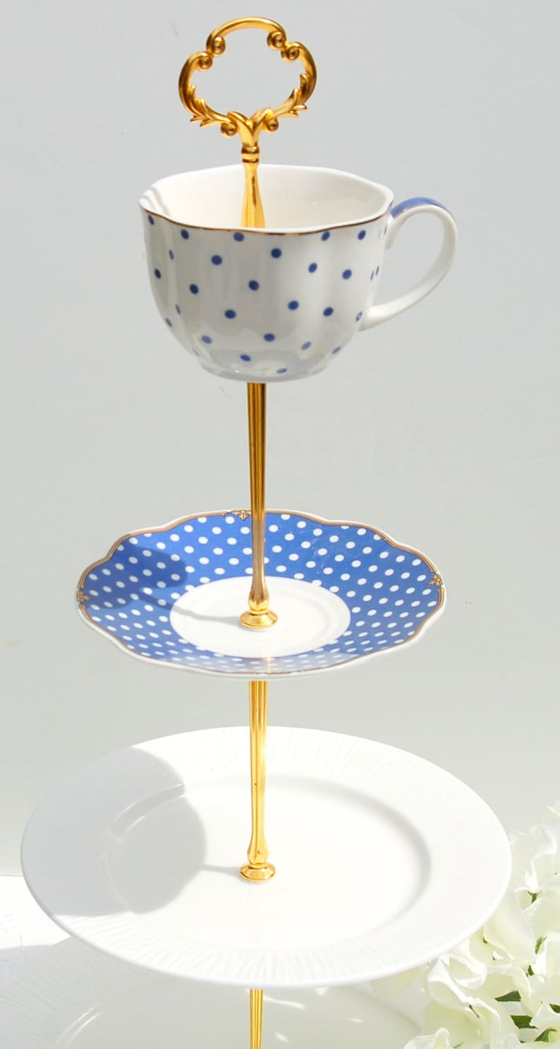 Polka Dot Tiered Cake Stand.Bridal Baby showerTea party Blue and White 3 or 4 Tier CakeCupcake Stand Cocktail party,Wedding Centerpiece
