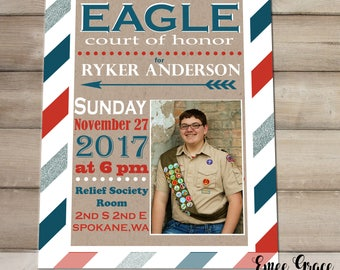 Boy Scout Eagle Court of Honor Mason Jar Table Centerpiece with Fleur de Lis and American Flag