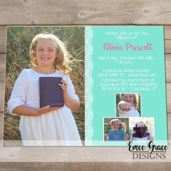 Lds Taufe Einladung Taufe Ankündigung Digitale Ankündigung Mädchentaufe Lds Digitale Datei