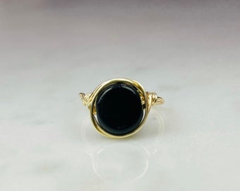 Delicate Wire Wrapped Ring, Black Stone Wrapped Ring, Minimalist Ring, Wire Wrapped Ring