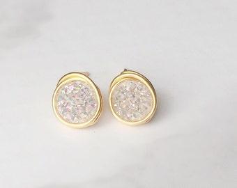 Confetti White Druzy Stud Earrings,Minimalist, Druzy Earrings, Southern Wire, Wire Wrap Handmade, Bridesmaid