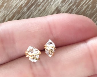Herkimer Diamond Stud Earrings // Minimalist Earrings // Gemstone Earrings //Southern Wire // Herkimer Diamond Jewelry