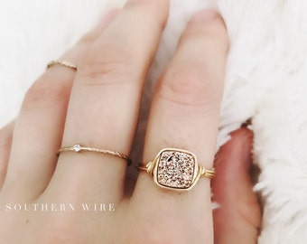 Rose Gold Druzy Ring //  Delicate Druzy Ring //  Rose Gold Druzy Wire Wrapped Jewelry Handmade Ring // Southern Wire