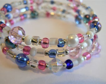 """Pink, Blue, White, and Clear Boho Wrap Bracelet with Delicate Prism accent beads on Silver Memory Wire (2.5 inch diameter) """"Petite Princess"""""""