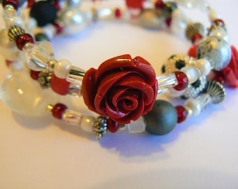 """Black, Red, Silver, and White Boho Wrap Bracelet on Silver Memory Wire (2.5 inch diameter) with Red Rose accent beads. """"Belle Beauty"""""""