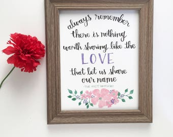 Avett Brothers Quote | Always remember there is nothing worth sharing like the love that let us | Valentines Print | Wedding | Anniversary