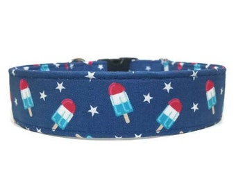 Rocket Pop Dog Collar, Popsicle Collar, Patriotic Collar, Made To Order Available in Buckle or Martingale or Chain Martingale