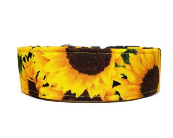 Sunflower Dog Collar, Floral Cat Collar, Made To Order - Available in Buckle or Martingale or Chain Martingale or Cat Collar