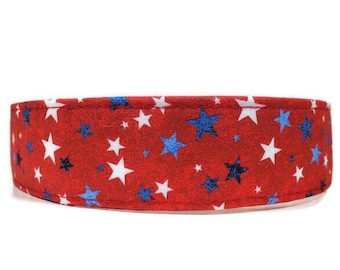 Red Patriotic Stars Dog Collar, Red Cat Collar, Made To Order - Available in Buckle or Martingale or Chain Martingale or Cat Collar
