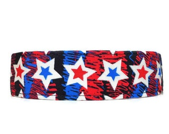 Red White and Blue Stars Dog Collar, Patriotic Collar, Made To Order Available in Buckle or Martingale or Chain Martingale