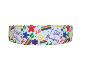 I Sh*t Rainbows, Dog Collar, Made To Order - Available in Buckle or Martingale or Chain Martingale