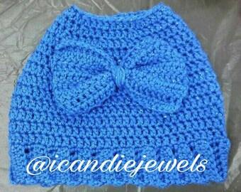 a4bfdb914 Crochet Bun Ponytail hat