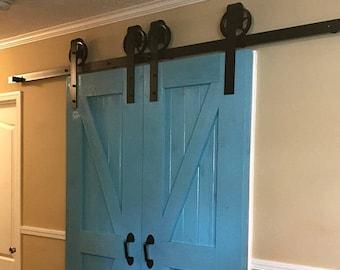 Double door vintage classic sliding barn door hardware raw steel