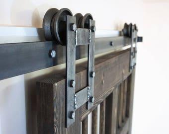 double door kit  rustic H sliding barn door hardware