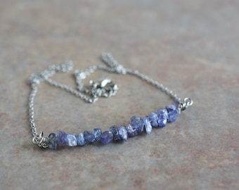 Tanzanite Bead Necklace-Wrap Bracelet 6 Smooth Beads High Quality PurpleBlue Rare Stone Sterling Silver Findings 22 Adjustable Size