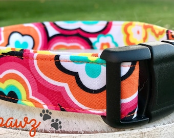 Girl Flower Power Summer Flowers Colorful Flowers Adjustable Fabric Dog or Cat Collar