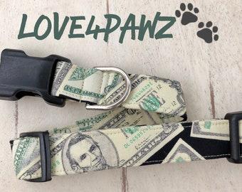 Money Money Money Cash Themed Adjustable Fabric Dog or Cat Collar