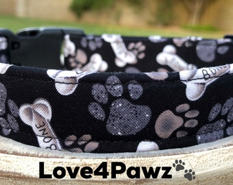 All About Dogs Bones and Paws Adjustable Fabric Dog or Cat Collar