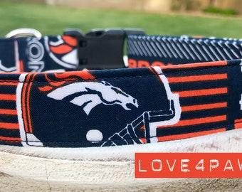 Denver Broncos Football Adjustable Fabric Dog or Cat Collar