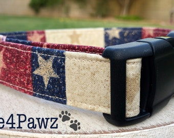American Gold Stars July 4th American Flag Patriotic Fabric Adjustable Dog or Cat Collar