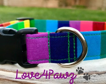 LGBT Pride Rainbow Pride Adjustable Fabric Dog or Cat Collar