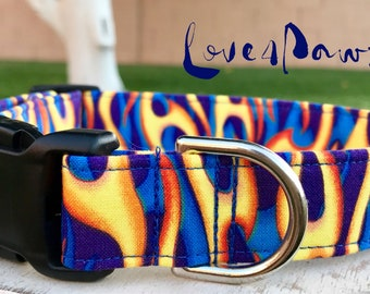 Flames in Motion Fire and Flames Adjustable Fabric Dog or Cat Collar