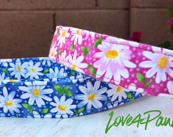 Cute Daisy Flowers on Pink or Blue Fabric Adjustable Dog or Cat Collar