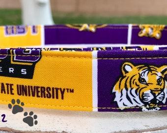 Louisiana State University Adjustable Fabric Dog or Cat Collar