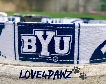 Brigham Young University BYU Adjustable Fabric Dog or Cat Collar