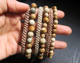 Single Set - Picture Jasper Beaded Bracelet and Cotton Woven Bracelet, 6mm, 8mm, Neutral, Mens, Womens