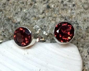 second earrings Natural red garnet earrings 142 4mm sterling silver 0.925 January birthstone earrings