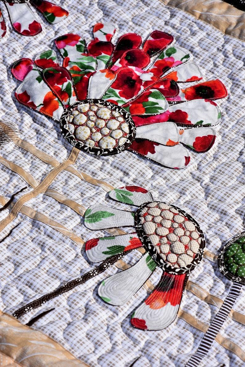 King Size Quilt Sofa Quilts With Flower Applique Kajura Design Etsy