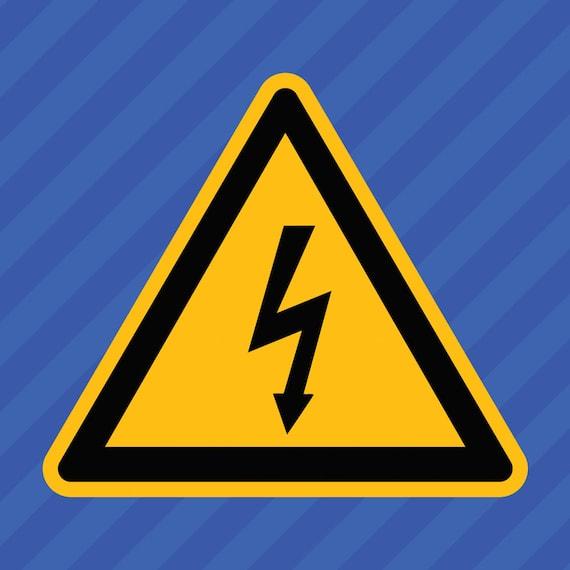 High Voltage Electrical Shock Hazard Warning Symbol Vinyl Decal Sticker