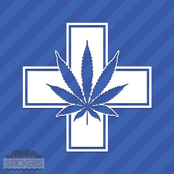 Pot Leaf With Circle Vinyl Decal Sticker Cannabis Marijuana Weed
