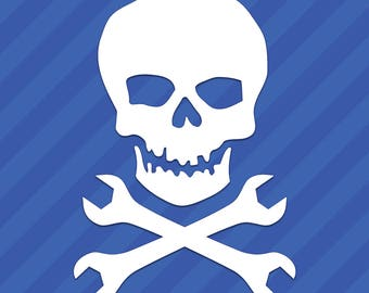 Classic Skull With Crossed Wrenches Vinyl Decal Sticker