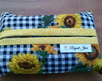 Travel Tissue Holder, Tissue Cover, Sunflower Tissue Cozy