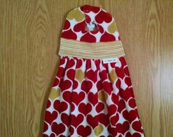 Valentines Hanging Kitchen Towel,  Hand Towel, Long Tea Towel, Red Hearts