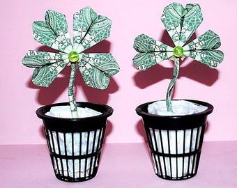 origami shamrock - money shamrock - dollar bill shamrock - lucky clover - origami clover - money clover - dollar bill clover - shamrock gift