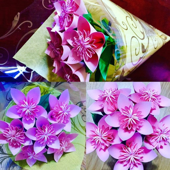 Paper flower bouquet origami flowers paper flowers etsy image 0 mightylinksfo