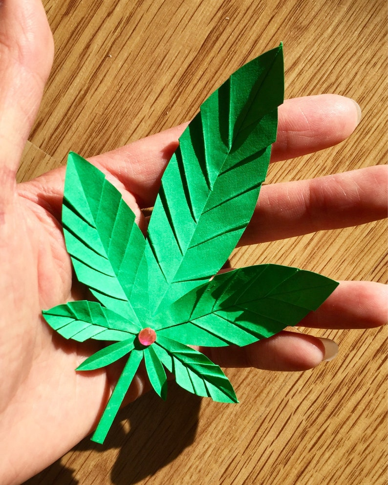 Origami Feuilles Cannabis Feuille Marijuana Feuille Etsy